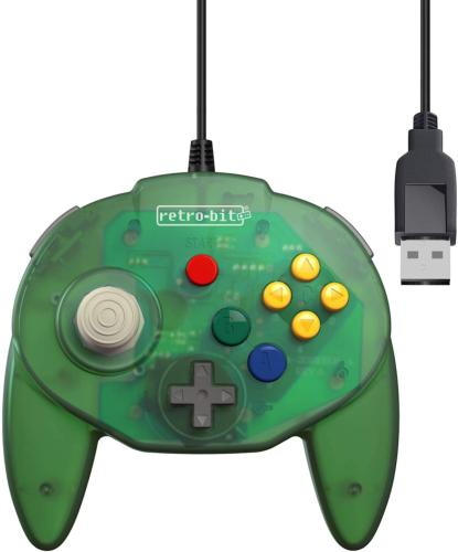 Retro-Bit Tribute 64 USB for PC, Switch, Mac, Steam, RetroPie, Raspberry Pi - Forest Green