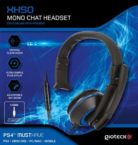 Gioteck XH50 Micro Casque Mono Chat pour iPhone/iPad/Xbox/PS4/PC bleu