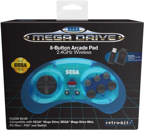 Retrobit - Sega Mega Drive Manette 8 boutons bleue sans fil 2.4Ghz - Dongle USB/Port d'Origine
