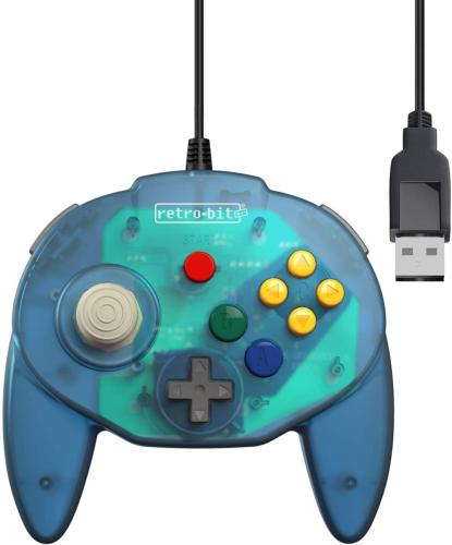 Retro-Bit Tribute 64 USB for PC, Switch, Mac, Steam, RetroPie, Raspberry Pi - Ocean Blue