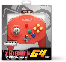 Retro-Bit Tribute 64 USB for PC, Switch, Mac, Steam, RetroPie, Raspberry Pi - Red